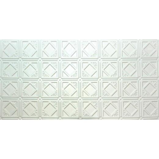 Dimensions 2 Ft. x 4 Ft. White 6 In. Diamond Pattern Tin Look Nonsuspended Ceiling Tile & Backsplash