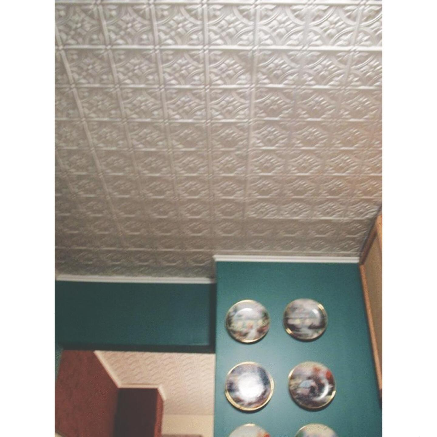 Dimensions 2 Ft. x 4 Ft. White 12 In. Square Pattern Tin Look Nonsuspended Ceiling Tile & Backsplash Image 2