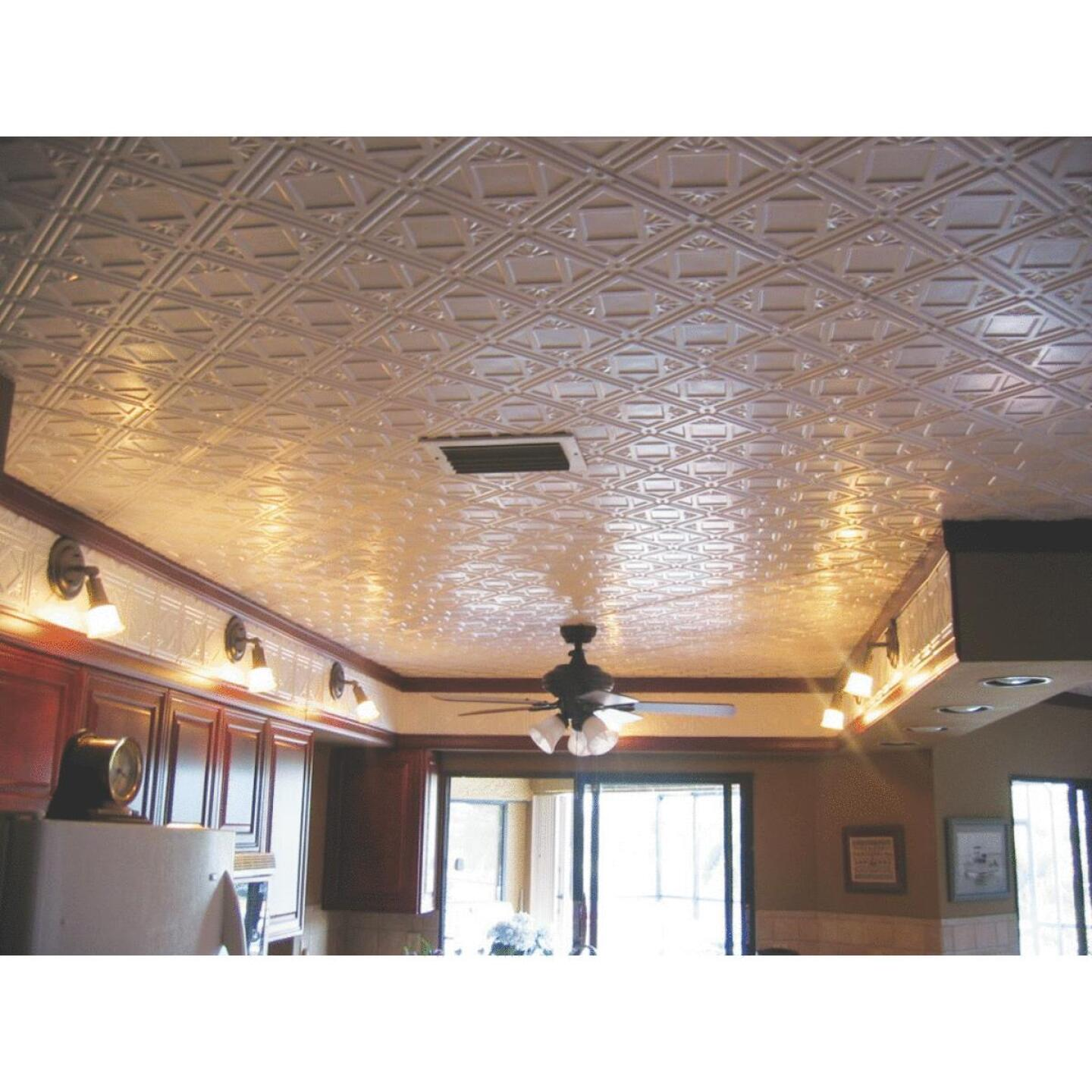Dimensions 2 Ft. x 4 Ft. White 12 In. Square Pattern Tin Look Nonsuspended Ceiling Tile & Backsplash Image 3