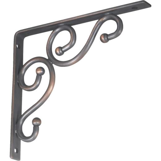 National 773 7 In. D. x 8 In. H. Antique Bronze Steel Decorative Shelf Bracket