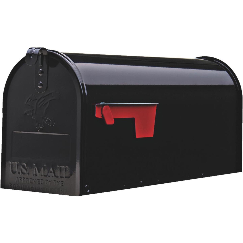 Gibraltar Elite Series T1 Black Steel Rural Post Mount Mailbox Image 2