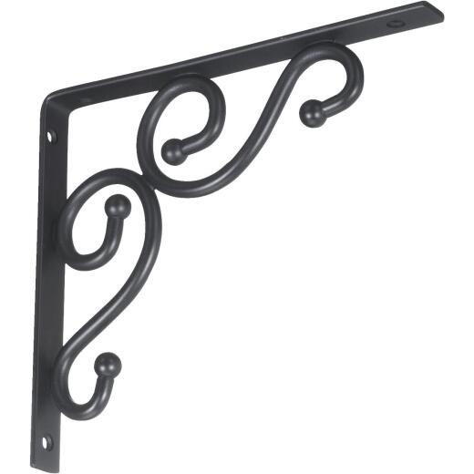 National 773 7 In. D. x 8 In. H. Black Steel Decorative Shelf Bracket