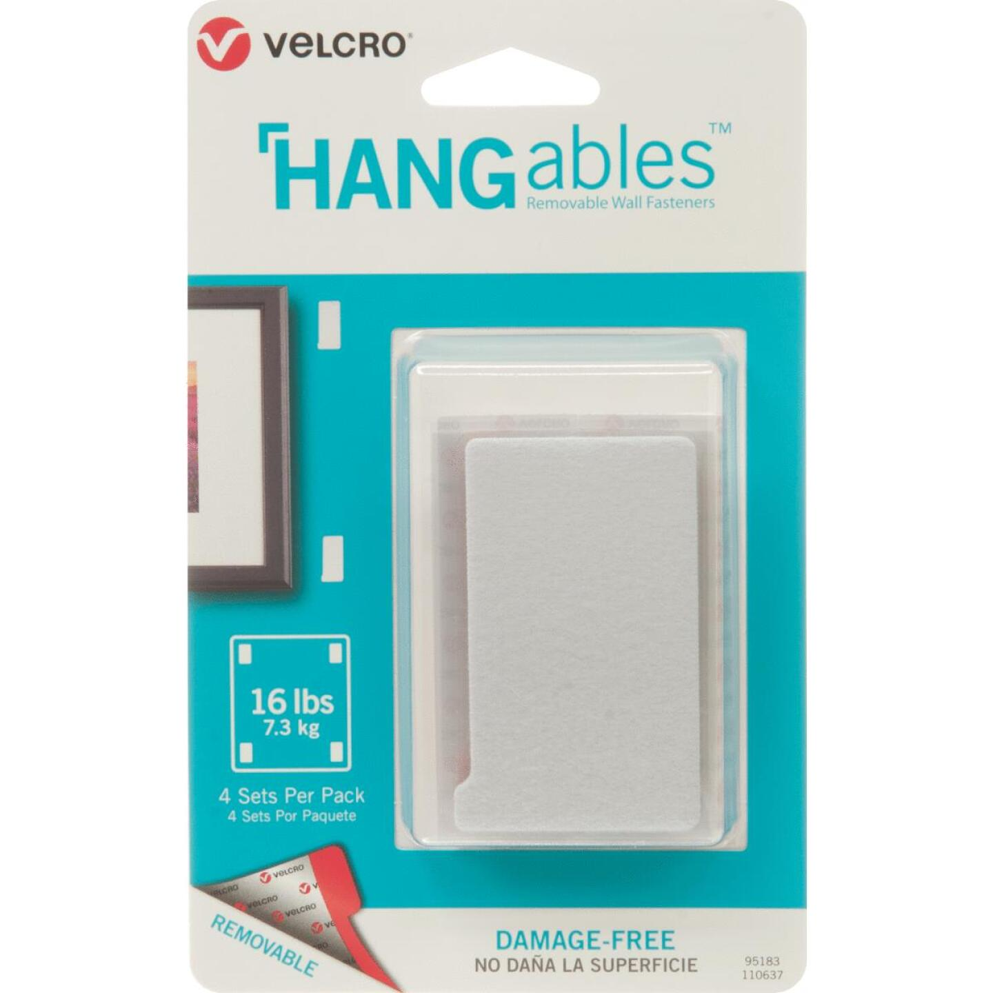 VELCRO Brand Hangables 3 In. x 1-3/4 In. White Removable Wall Fastener Strips (4 Ct.) Image 1