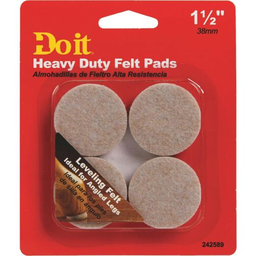 Do it Leveling 1-1/2 In. Dia x 9mm H Round Self Adhesive Furniture Glide,(4-Pack)