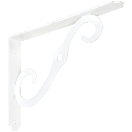 National 152 8 In. D. x 5-1/2 In. H. Antique White Steel Ornamental Shelf Bracket/Plant Hanger