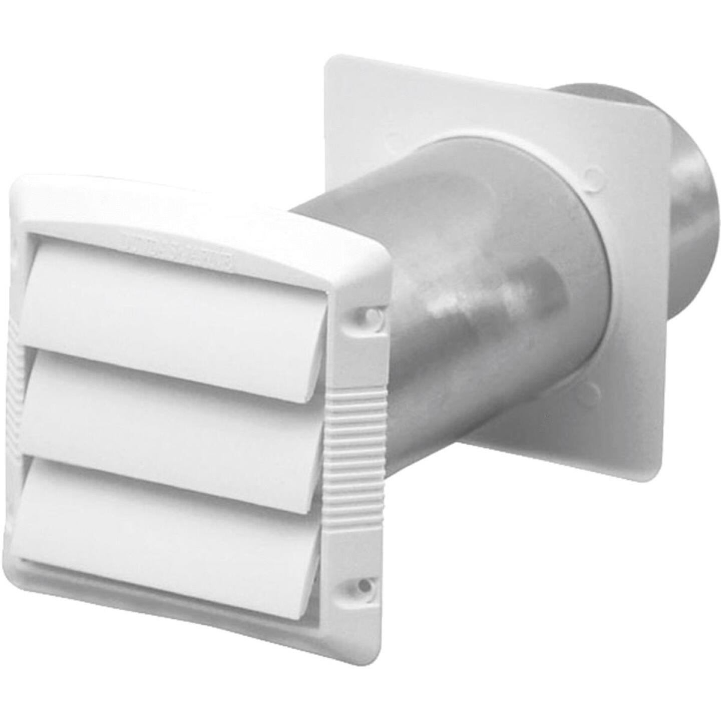 Dundas Jafine 4 In. White Plastic 3-Louver Dryer Vent Hood Image 1