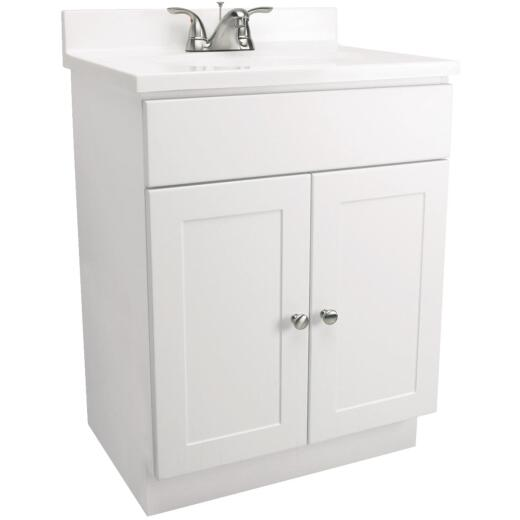 Design House White 24 In. W x 31-1/2 In. H x 18 In. D Combo Vanity with Cultured Marble Top