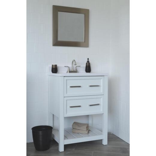 Modular Sorrento White 25 In. W x 31 In. H x 19 In. D Vanity with Cultured Marble Top