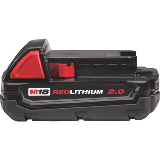 Milwaukee M18 REDLITHIUM 18 Volt Lithium-Ion 2.0 Ah Compact Tool Battery