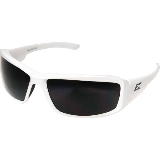 Edge Eyewear Brazeau Gloss White Frame Safety Glasses with Smoke Lenses