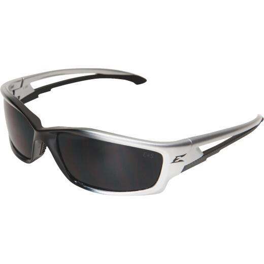 Edge Eyewear Kazbek Gloss Silver Frame Safety Glasses with Smoke Lenses
