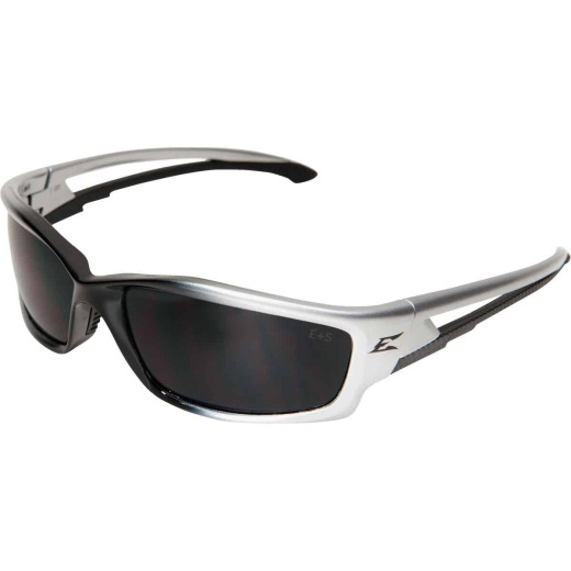 Edge Eyewear Kazbek Gloss Silver Frame Safety Glasses with Smoke Lenses
