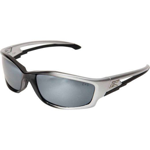 Edge Eyewear Kazbek Gloss Silver Frame Safety Glasses with Silver Mirror Lenses