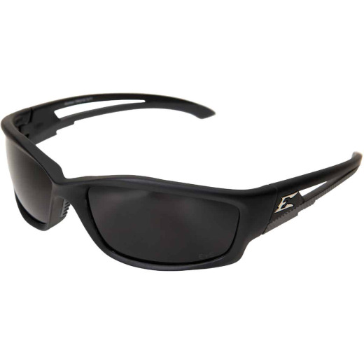 Edge Eyewear Kazbek Rubberized Matte Black Frame Safety Glasses with Smoke Lenses