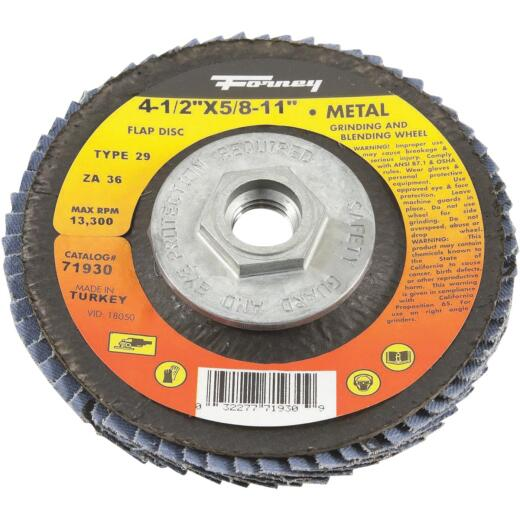 Forney 4-1/2 In. 5/8 In.-11 36-Grit Type 29 Blue Zirconia Angle Grinder Flap Disc