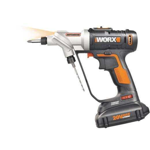 WORX 20 Volt Switchdriver Lithium-Ion 1/4 In. Cordless Drill/Driver Kit