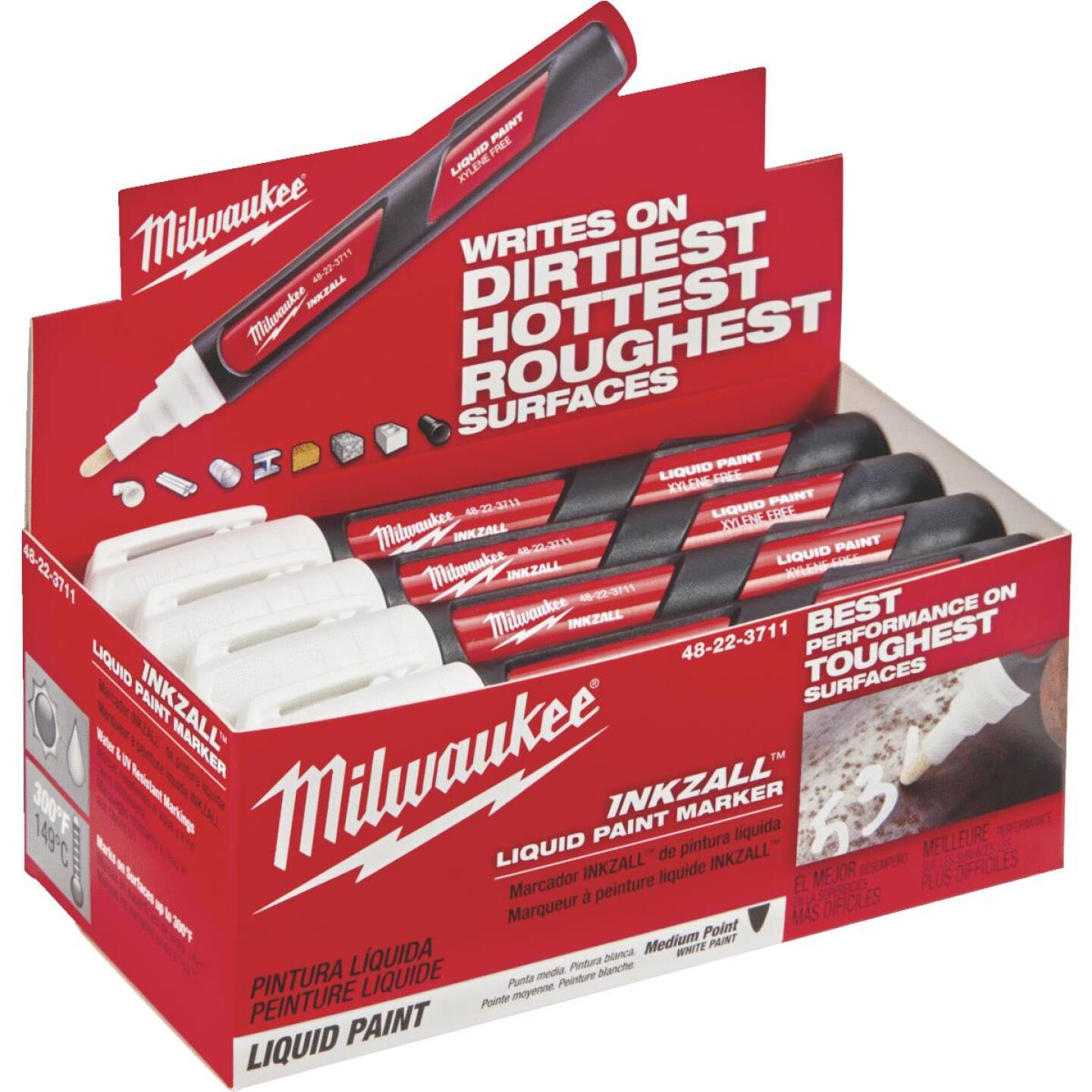 Milwaukee INKZALL Nib Point White Liquid Paint Job Site Marker Image 2