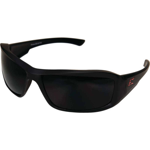 Edge Eyewear Brazeau Torque Red E Matte Black Frame Safety Glasses with Smoke Polarized Lenses