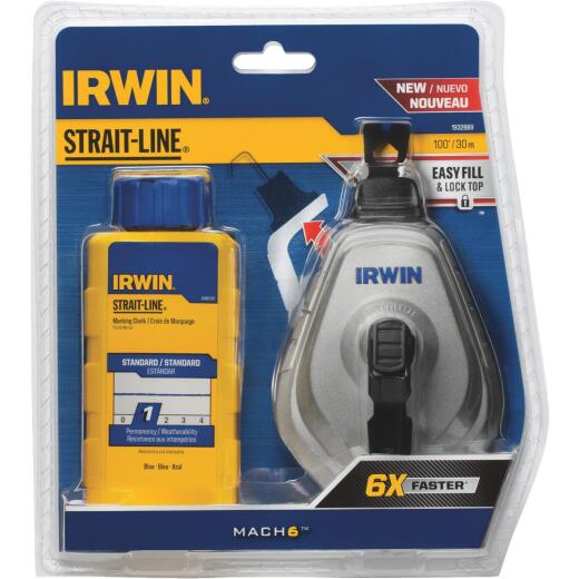 Irwin STRAIT-LINE Mach6 100 Ft. Chalk Line Reel and Chalk, Blue