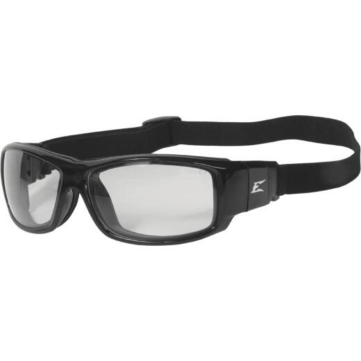 Edge Eyewear Caraz Conversion Kit Black Frame & Strap Safety Glasses with Clear Vapor Shield Lenses