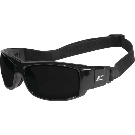 Edge Eyewear Caraz Conversion Kit Black Frame & Strap Safety Glasses with Smoke Vapor Shield Lenses