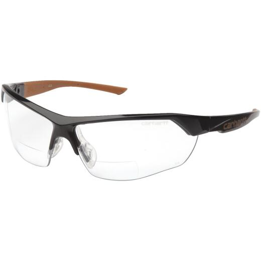 Carhartt Braswell Black Frame Reader Safety Glasses with Clear Anti-Fog Lenses, 1.5 Diopter