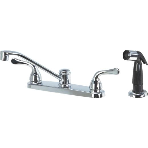 Home Impressions Dual Handle Lever Kitchen Faucet with Black Side Spray, Chrome