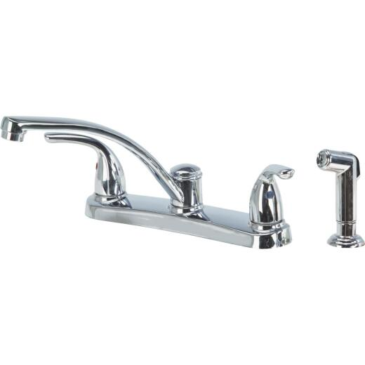 Home Impressions Dual Handle Metal Lever Kitchen Faucet with Side Spray, Chrome