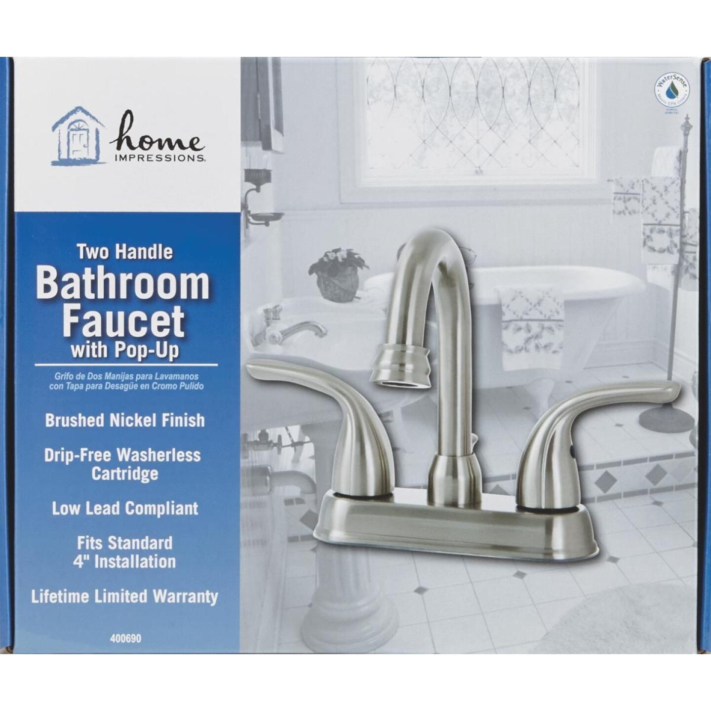 Home Impressions Brushed Nickel 2-Handle Lever 4 In. Centerset Bathroom Faucet with Pop-Up Image 4