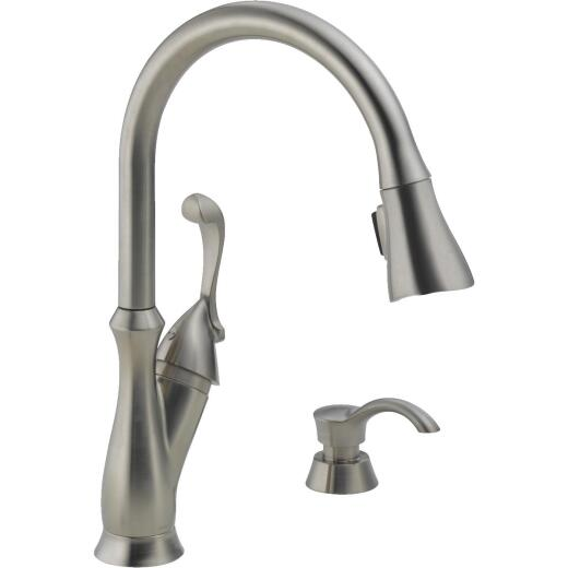 Delta Arabella Single Handle Lever Pull-Down Kitchen Faucet with Soap Dispenser, Brushed Nickel