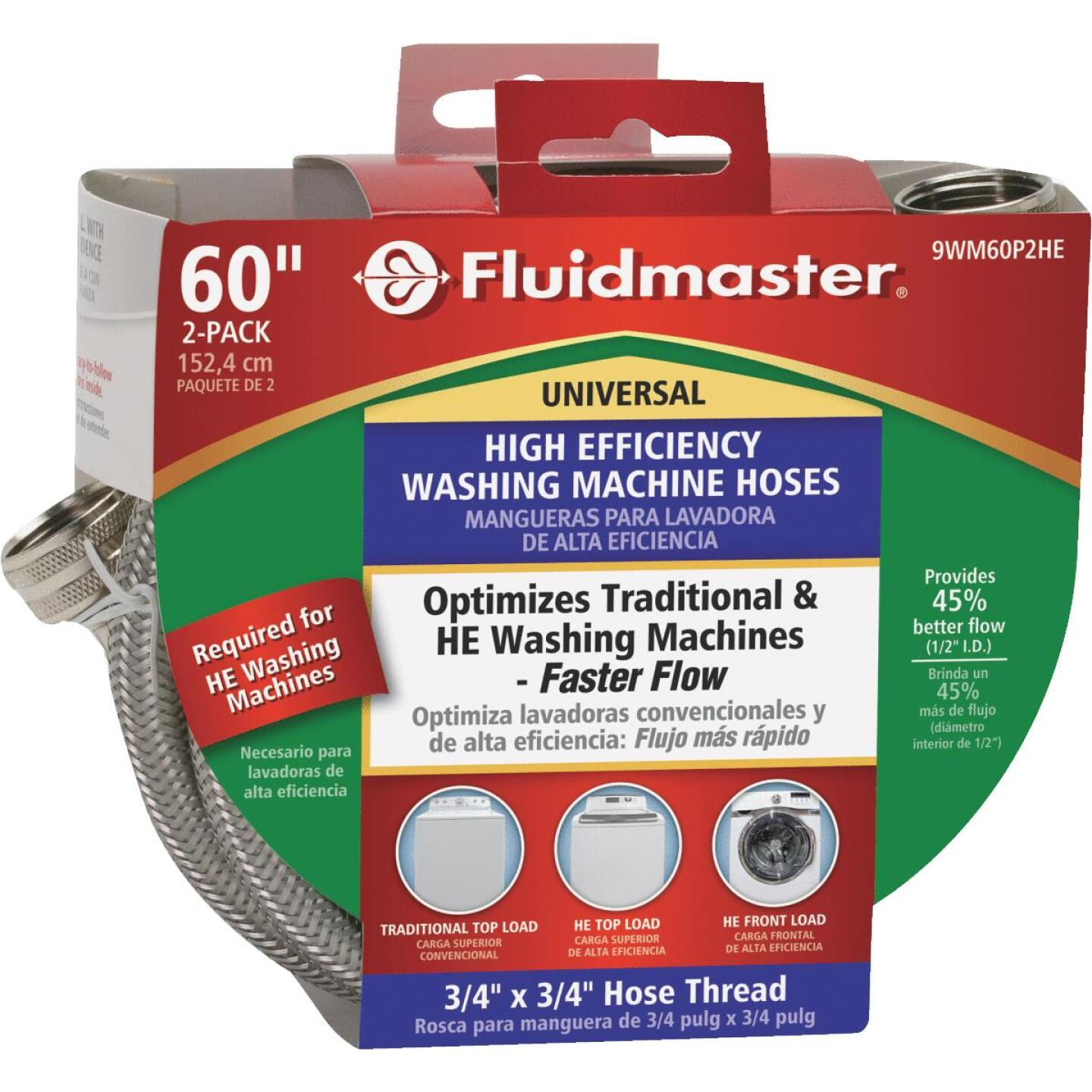 Fluidmaster 3/4 x 3/4 In. Hose Fitting x 60 In. L Braided Stainless Steel High Efficiency Washing Machine Hose(2-Pack) Image 4