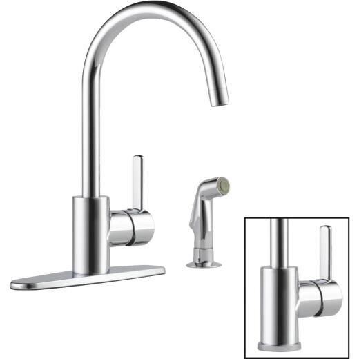 Peerless Apex Single Handle Lever Kitchen Faucet with Side Spray, Chrome