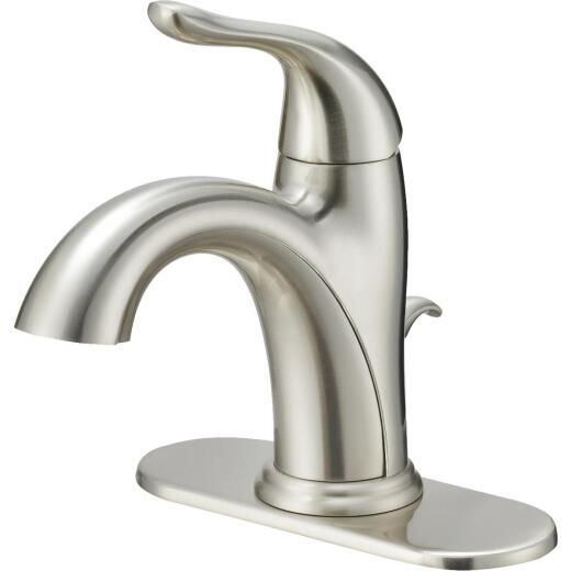 Home Impressions Brushed Nickel 1-Handle Lever 4 In. Centerset Bathroom Faucet with Pop-Up