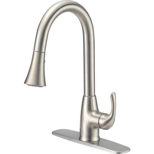 Home Impressions Single Handle Lever Pull-Down Kitchen Faucet with Side Spray, Brushed Nickel
