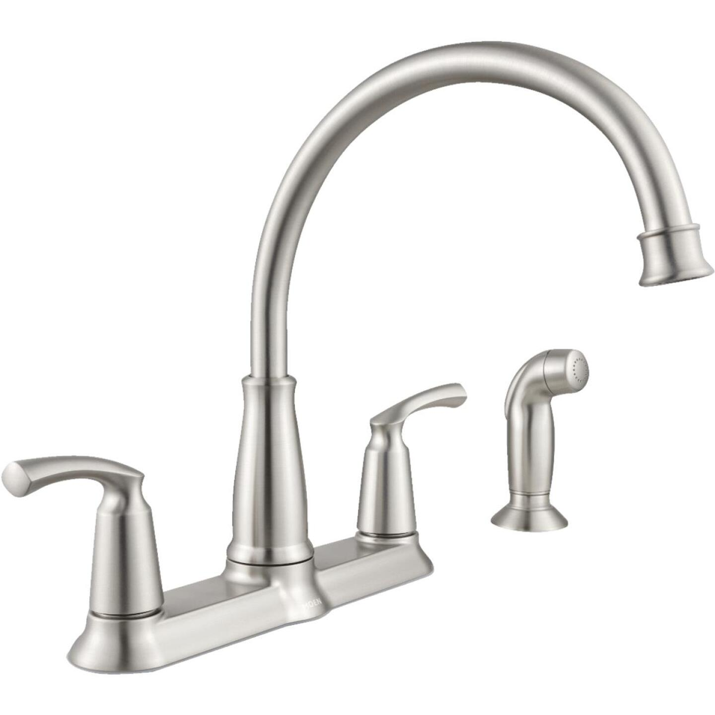 Moen Bexley Dual Handle Lever Kitchen Faucet with Side Spray, Stainless Image 1