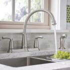 Moen Bexley Dual Handle Lever Kitchen Faucet with Side Spray, Stainless Image 4
