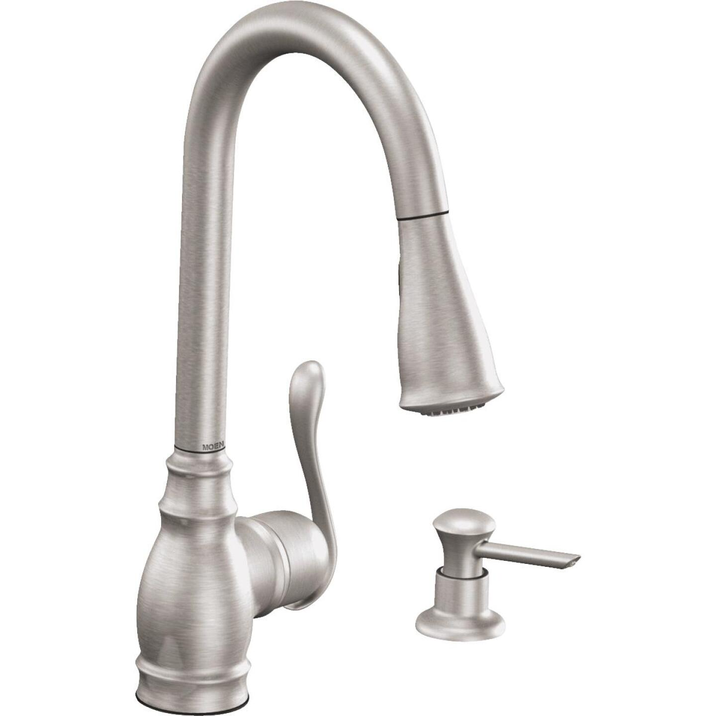Moen Anabelle Single Handle Lever Pull-Down Kitchen Faucet with Soap Dispenser, Stainless Image 1