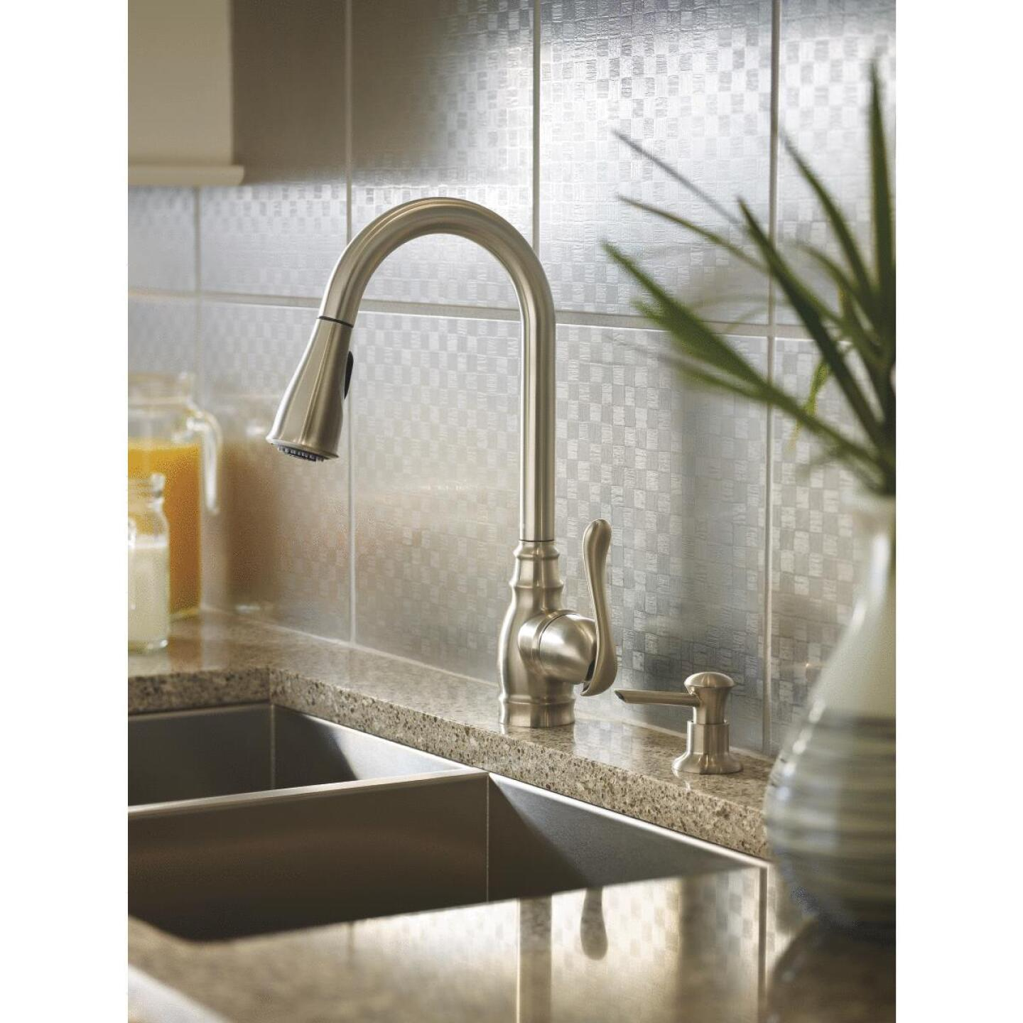 Moen Anabelle Single Handle Lever Pull-Down Kitchen Faucet with Soap Dispenser, Stainless Image 3