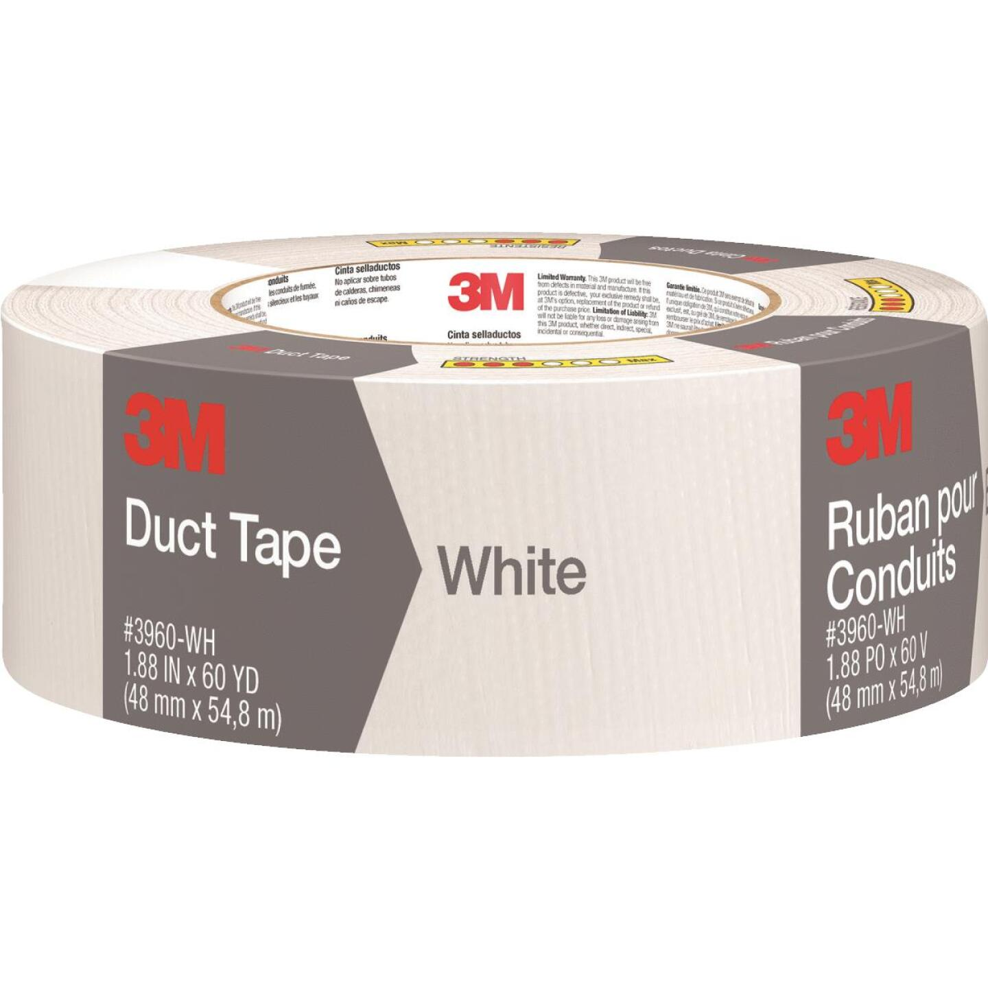 3M 1.88 In. x 60 Yd. Colored Duct Tape, White Image 1