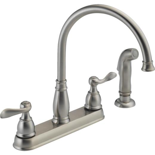Delta Windemere Dual Handle Lever Kitchen Faucet with Side Spray, Stainless