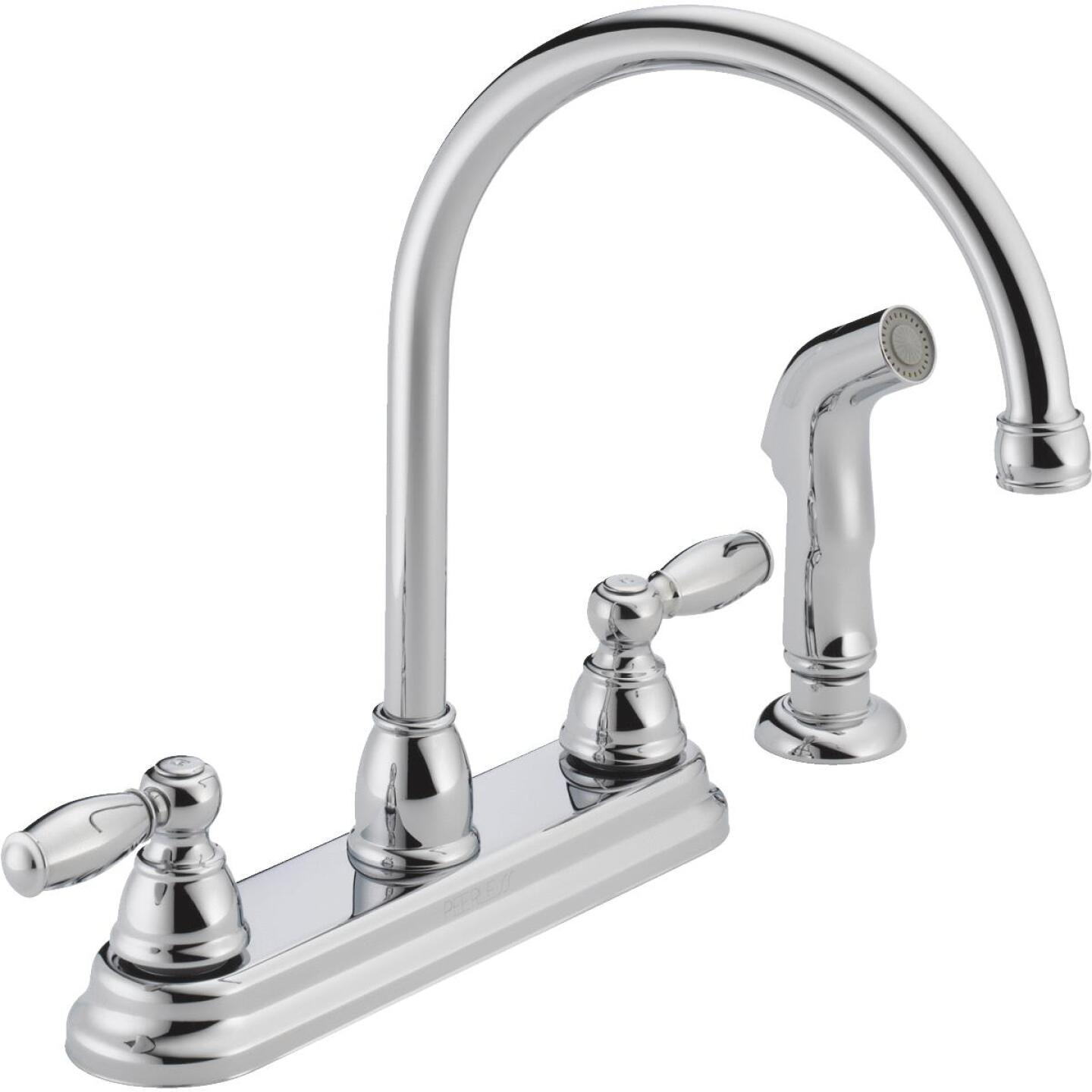 Peerless Dual Handle Lever Kitchen Faucet with Side Spray, Chrome Image 1
