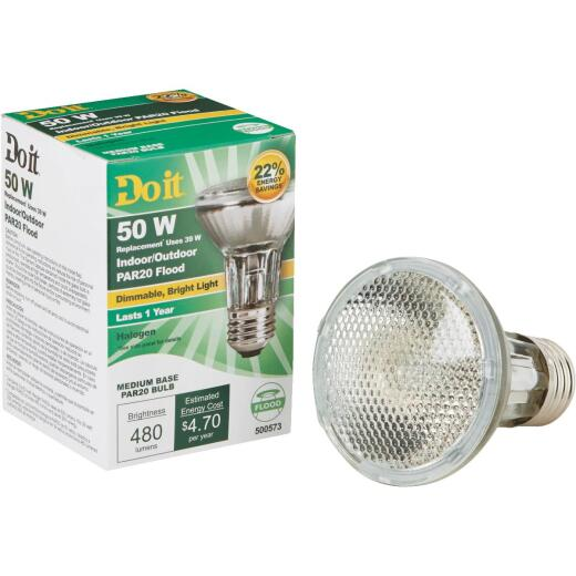 Do it 50W Equivalent Clear Medium Base PAR20 Halogen Floodlight Light Bulb
