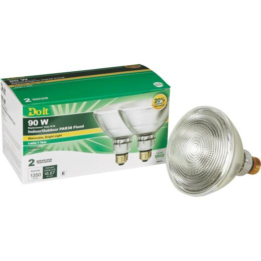 Do it 90W Equivalent Clear Medium Base PAR38 Halogen Floodlight Light Bulb (2-Pack)