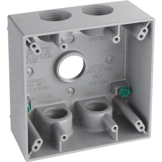 Hubbell 2-Gang 3/4 In. 5-Outlet Gray Aluminum Weatherproof Electrical Box