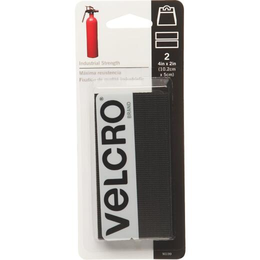 VELCRO Brand 2 In. x 4 In. Black Industrial Strength Hook & Loop Strip (2 Ct.)