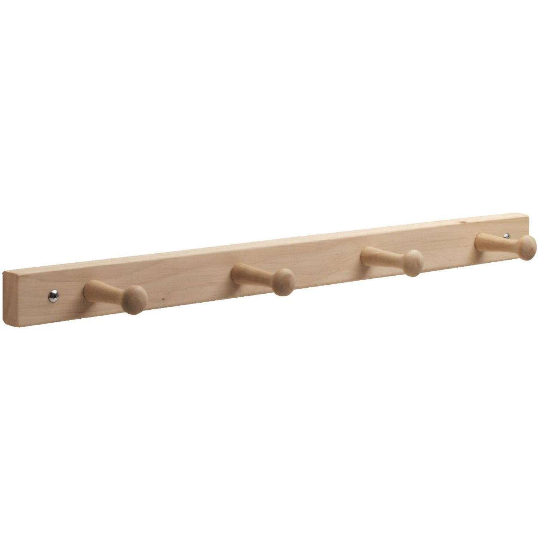 Interdesign Natural Wood 4-Peg Rack Image 1