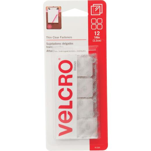VELCRO Brand 7/8 In. Clear Hook & Loop Square (12 Ct.)