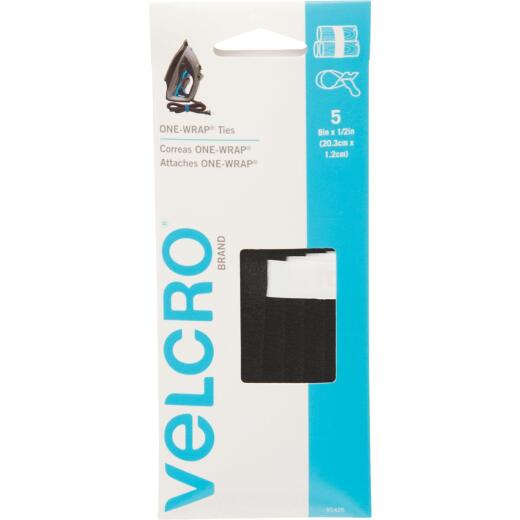 VELCRO Brand One-Wrap 1/2 In. x 8 In. Black Hook & Loop Tie (5 Ct.)