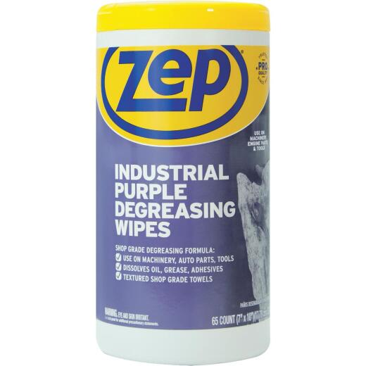 Zep Industrial Purple Cleaning & Degreasing Wipes (65 Count)