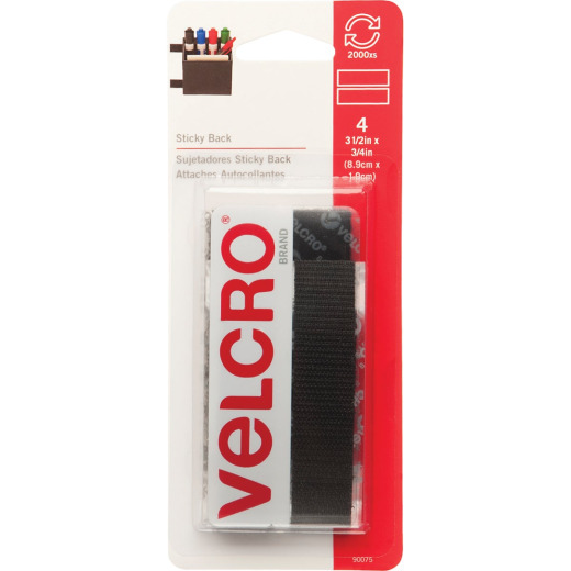 VELCRO Brand 3/4 In. x 3-1/2 In. Black Sticky Back Hook & Loop Strips (4 Ct.)